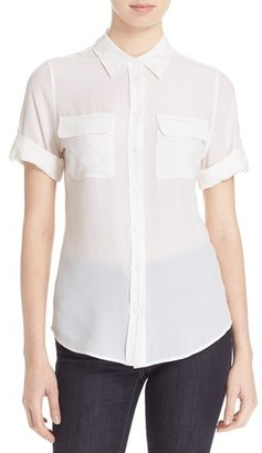 Women's Equipment Slim Signature Short Sleeve Silk Shirt $198 thestylecure.com