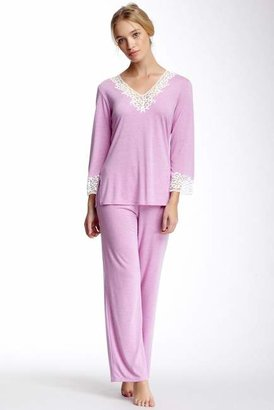 Natori Lace Trim PJ Set $160 thestylecure.com