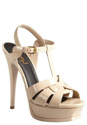 Yves Saint Laurent nude patent leather 'Tribute' platform sandals