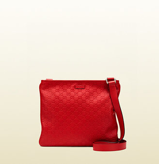 Gucci Red Guccissima Leather Messenger Bag