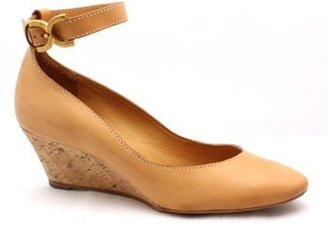 "Chloé CH18030"" Cognac Cork Wedge Ankle Strap Wedge"
