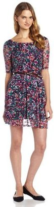 My Michelle Sequin Hearts by Juniors Printed Lace Crew Neck Dress with Belt