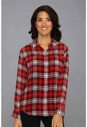 Vince Camuto TWO by L/S Plaid Utility Shirt (China Red) - Apparel