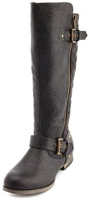 Charlotte Russe Quilted Side-Zip Motorcycle Boot