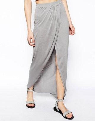 Asos Wrap Maxi Skirt In Jersey