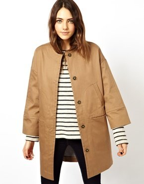 Asos Bonded Coat With Pocket Stitch Detail