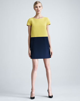 Paule Ka Colorblock Pique-Knit Shift Dress