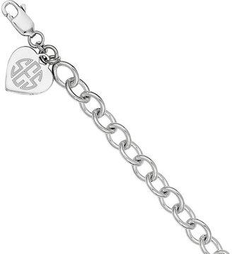 Sterling Personalized Heart Charm Link Bracelet