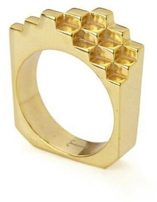 Jewel Tree London Hive Ring 18ct Gold Vermeil