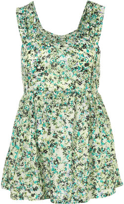 Topshop Green Floral Print Tieback Sun Top