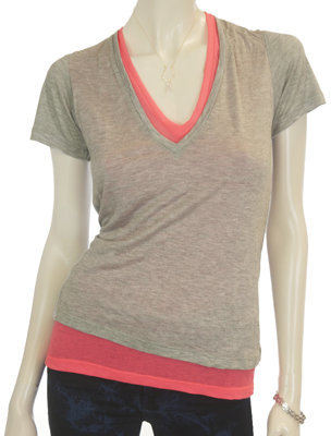 Monrow Double V-Neck Tee in Coral