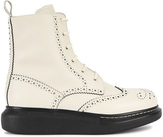 Alexander McQueen Hybrid 50 Off-white Leather Ankle Boots