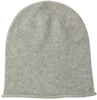 Johnstons of Elgin Roll Trim Cashmere Hat Silver
