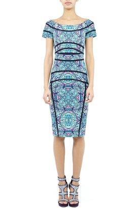 Nicole Miller Karina Aqua Maze Dress