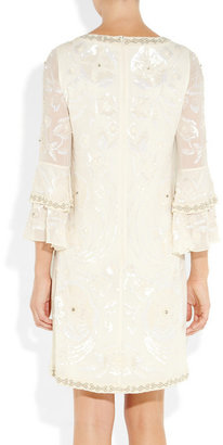 Matthew Williamson Poppy embellished silk-georgette shift dress