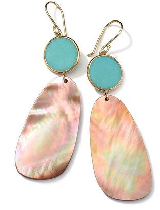Ippolita 18K Gold Ondine 2-Drop Earrings in Turquoise/Brown Shell