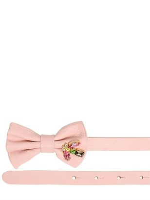 RED Valentino 10mm Jeweled Bow Leather Belt