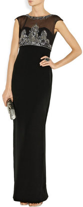 Notte by Marchesa Embellished silk-crepe gown