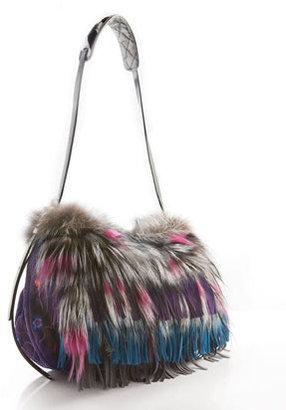 Jimmy Choo Biker Fox Fur & Floral Suede Shoulder Bag