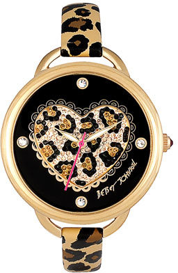 Betsey Johnson Heart Dial Leather Strap Watch