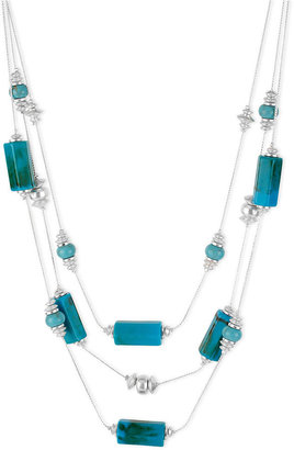 Kenneth Cole New York Necklace, Silver-Tone Turquoise Geometric Bead Illusion Necklace