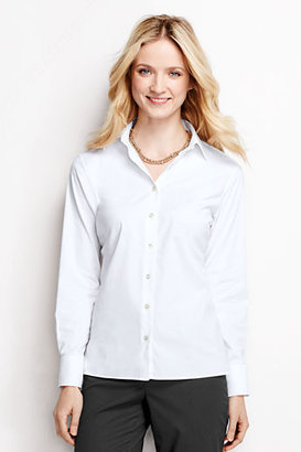 Lands' End Women's Regular Long Sleeve Stretch Broadcloth Blouse