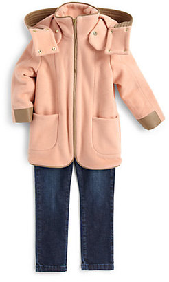 Chloé Toddler's & Little Girl's Leather Trim Coat