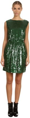Armani Jeans Cinched Waist Sequin Dress (Green) - Apparel