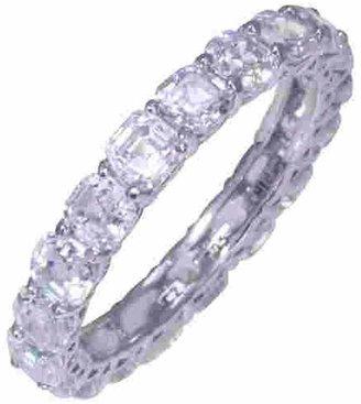 Diamonique Asscher Cut 4.90 cttw Eternity Ring,Platinum Clad