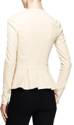 The Row Anasta Leather Peplum Jacket, Cord