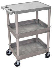 Luxor Gray Heavy-duty Plastic Utility Cart with Four Locking Casters