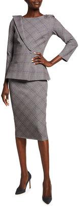 Chiara Boni Plaid 3/4-Sleeve Peplum Dress