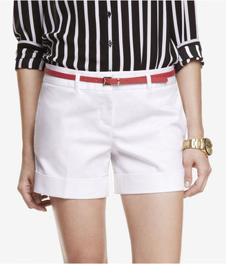 Express 4 1/2 Inch Belted Cuffed Cotton Sateen Shorts
