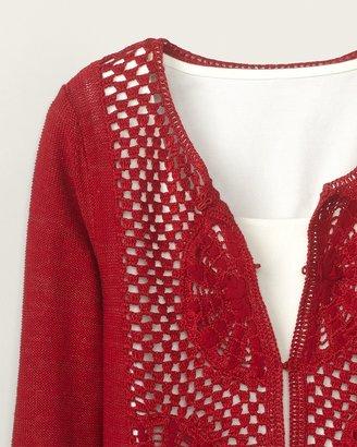 Coldwater Creek Circle crochet cardigan