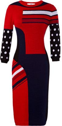 Prabal Gurung Preorder Three-Quarter Sleeve Intarsia Knit Dress