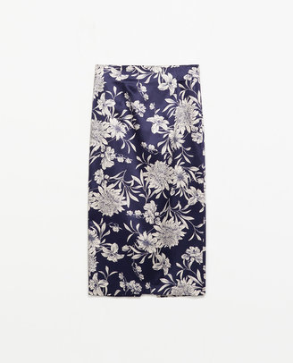 Zara Printed Pencil Skirt