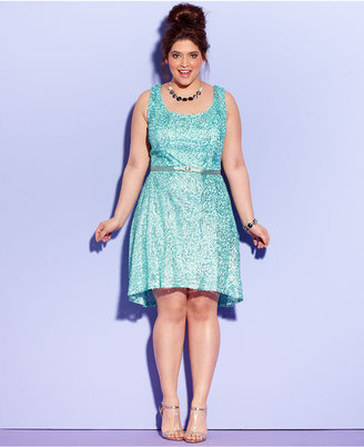 Ruby Rox Plus Size Dress, Sleeveless Sequin A-Line