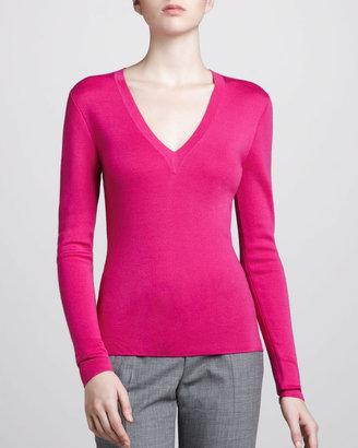 Michael Kors V-Neck Cashmere Sweater, Fuchsia
