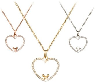 Disney Diamond Heart Mickey Mouse Necklace 18K