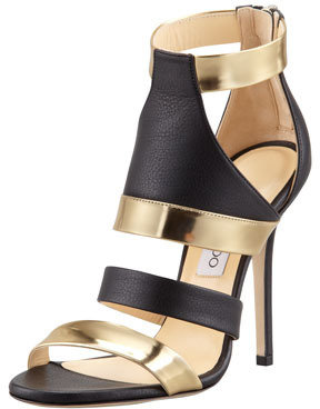 Jimmy Choo Besso Mixed-Leather Sandal