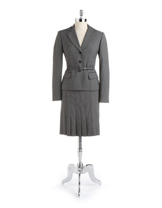 Anne Klein SUIT Pleated Plaid Skirt Suit