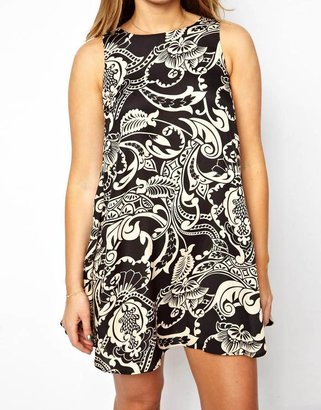 Asos Exclusive Swing Dress In Wallpaper Print