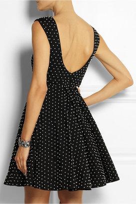 Alice + Olivia Faux pearl-embellished cotton mini dress
