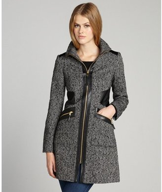 Via Spiga black and white wool blended tweed faux leather trimmed coat