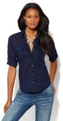 New York & Co. Spring Street Clip Dot Shirt - Grand Sapphire