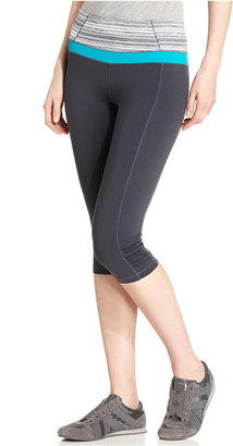 Calvin Klein Pants, Printed Ruched Active Capri Leggings