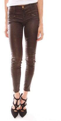 Current/Elliott The Soho Zip Stiletto Coated Jeans in Brown Coated