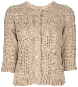 Sessun cropped patterned knit cardigan