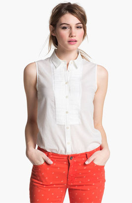 Vince Camuto Two by Pleat Front Blouse Utlra White Large