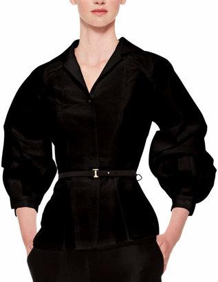 Carolina Herrera Silk Faille Balloon-Sleeve Blouse, Black